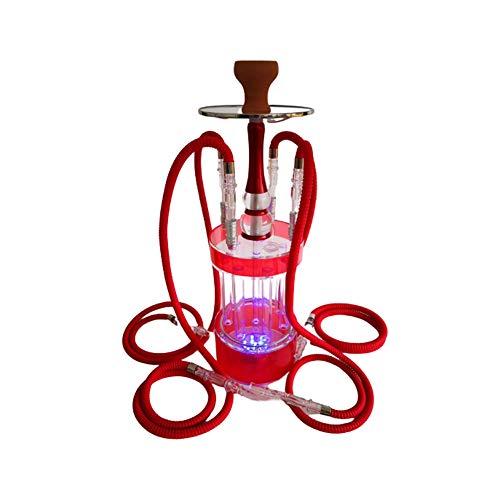 QqHAO Shisha Set, 4 Forma Manguera LED Moderno de acrílico Gatling Árabe Hookah Conjunto con los Accesorios, Circulación de filtración impurezas Profesión cachimba Kit,Rojo