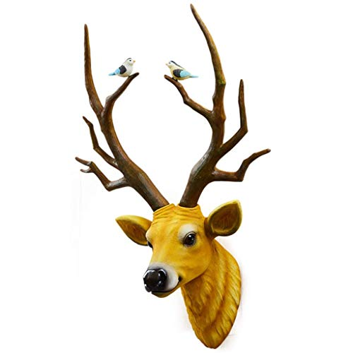 DAGCOT Wall Decor Stag Head Wall Mount Stag Head Wall Mount,White Brown Retro Deer Head Wall Pendant,Resin Deer Head Wall Decoration,Dining Room Living Room Study Bedroom Deer Head Wall Mount