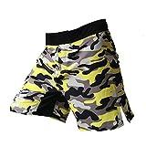 Carrey - Pantalones cortos para boxeo, boxeo, artes marciales, color Camuflaje amarillo, tamaño xx-large