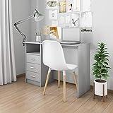 UnfadeMemory Schreibtisch mit 3 Schubladen Bürotisch Computertisch Spanplatte Arbeitstisch fürs...