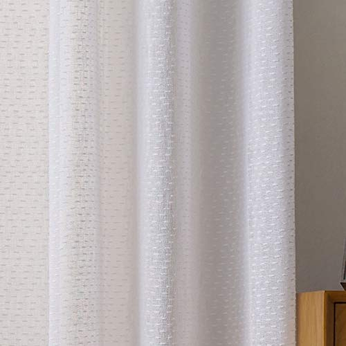 Viste tu hogar Pack 2 Cortina Decorativa Semitranslucida con Hilo de Cáñamo, Estilo Simple y Elegante, para Salón o Habitación, 2 Piezas, 150X260 CM, Diseño Simple y Clásico, en Color Blanco.