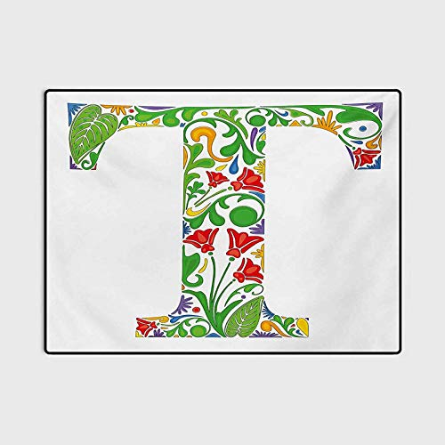 Letter T Outdoor Rugs for patios Kitchen Rugs and mats Red Blossoms and Green Leaves Vibrant Colors Letter T Capital Initial with Swirls Marine Carpet Multicolor 6 x 8.8 Ft