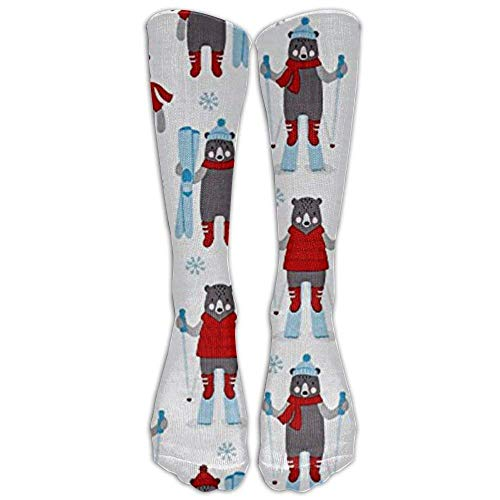 uyruyeue New Frosty Friends Skiers Snow Knee High Graduated Compression Socks for Women and Men - Best Medical, Nursing, Travel & Flight Socks - Running & Fitness