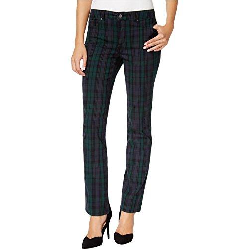 Charter Club Womens Petites Lexington Plaid Office Straight Leg Pants Green 6P