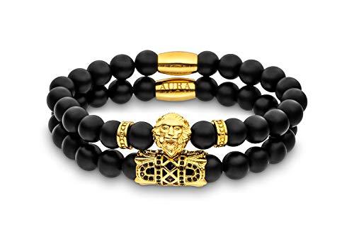 Lions Aura Löwen-Armband mit edlen Naturperlen | Perlen-Armband | Armband Herren | kraftvolles Design | Matt-Schwarz & Gold | 2er Set