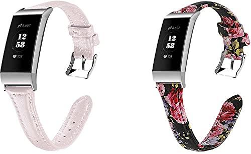 Gransho Correa de Reloj Compatible con Fitbit Charge 4 / Charge 4 SE/Charge 3 SE/Charge 3, Cross Piel Correa/Banda/Pulsera/Reemplazo (2-Pack H)