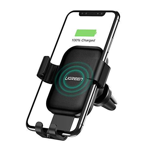 UGREEN Wireless Auto Ladegerät 10W/7.5W/5W Induktion Lüftung Handyhalterung Qi Charger Autohalterung kompatibel mit Galaxy S10/S9/S8/S7/S7 Edge, iPhone X/XS/11/11Pro, Huawei Mate 20 Pro, Mi 9 usw