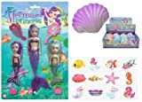 Girls Mermaid Party x3 Mermaid Princess Dolls, x1 Growing Princess Little Mermaid Seashell and x12 Mermaid Party Tattoos Bundle