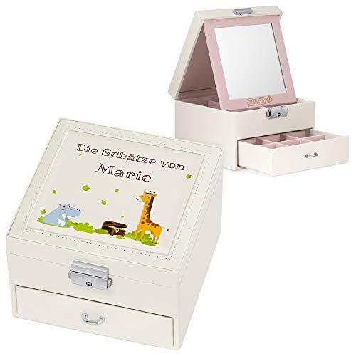 Murrano Schmuckkästchen mit Aufdruck - ink. Spiegel & Schublade - Geschenk für Mädchen - Schmuckaufbewahrung - 16x16x11cm - aus Kunstleder - Beige - Schätze