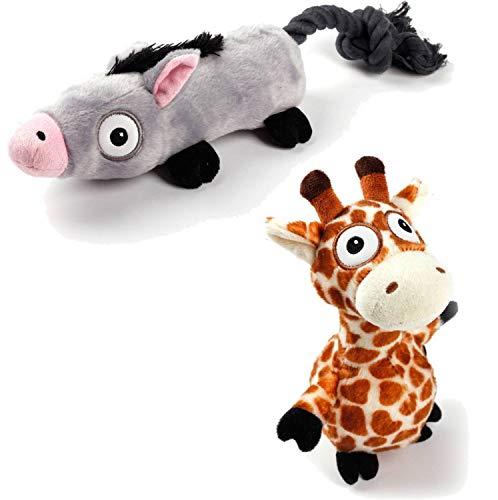 PETGARD 2er Sparpaket Ultrasonic Hundespielzeug mit extra leisem Quietscher Esel + Giraffe