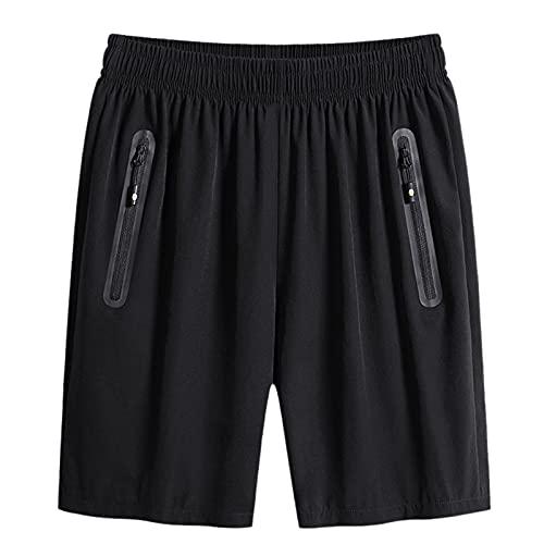 Pistaz Pantalones cortos para hombre, talla grande, Ice Silk Fast Dry, informales, deportivos, básicos, vintage, corte regular, Negro , 44W