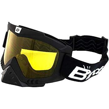 Birdz Eyewear Toucan Motorcycle ATV UTV Motocross Ski Padded Goggles with Detachable Nose Guard Yellow Lens
