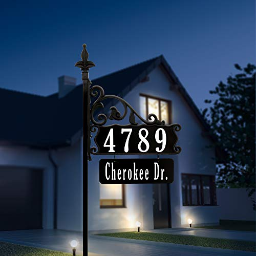 "Address America Yard Sign [Custom House Address Numbers plaque handcrafted 48"" Superb Home sign with holder and hanging street/family name plate [Highway-grade Reflective Vinyl,] Black"