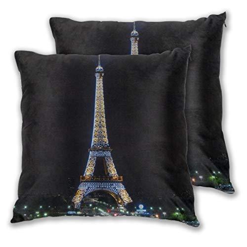 KASABULL 2 Pack Funda de Almohada Noche Torre Eiffel Hermoso Paris Lino Suave Cuadrado Sofá Cama Decoración Hogar para Cojín 45cm x 45cm