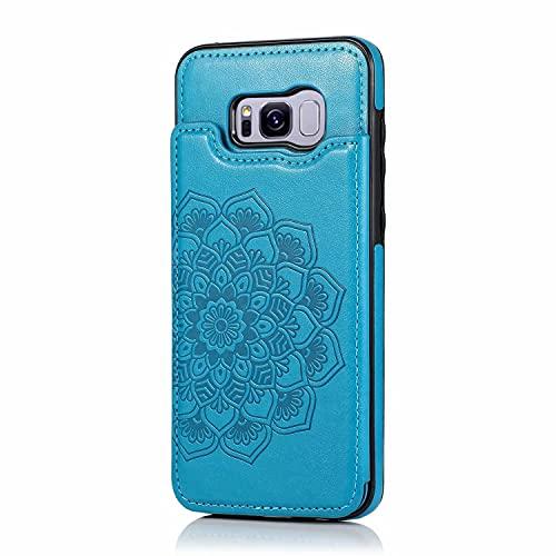 Lijc Compatible con Funda Samsung Galaxy S8 Plus Botón Doble Mandala En Relieve PU Cuero Tarjeta Bolsillos [Ranura para Tarjetas] [Soporte Plegable] Antigolpes Flip Caso-Azul