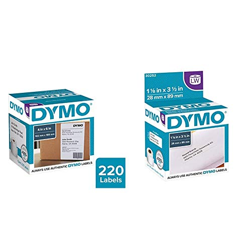 DYMO LabelWriter Shipping - Shipping labels - black on white - 4 in x 6 in - 220 label(s) & Authentic LW Mailing Address Labels | DYMO Labels for LabelWriter Label Printers, 2 Rolls of 350 (700 Total)
