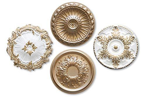 1 rozet | plafond | binnendecoratie | stuck | EPS | Decor | alle modellen | goud modern super gold R-17 - Ø 28 cm.