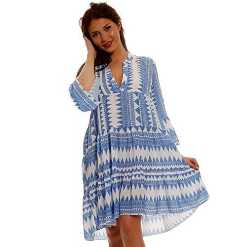 YC Fashion & Style Damen Tunika Kleid Allover Muster Boho Look Party-Kleid Freizeit Minikleid oder Herbstkleid Kleid Für Frauen mit Kurven HP219 Made in Italy (One Size, Hellblau Model 3)