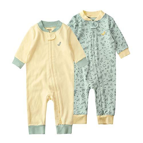 Baby Schlafstrampler Einteiliger Langarm Schlafanzug ohne Fuß 100% Bio-Baumwolle Baby Kleinkinder Schlafoverall Strampelanzug Pyjama 2er Pack Unisex für 0-24 Monate (Grün&Gelb, 73cm)