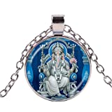 Ganesha - Collar de elefante de Buda hindú con colgante de cristal espiritual de meditación de loto y colgante de 4 colores de cadena larga