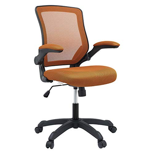 Modway Veer Office Chair with Mesh Back and Vinyl Seat With Flip-Up Arms in Tan