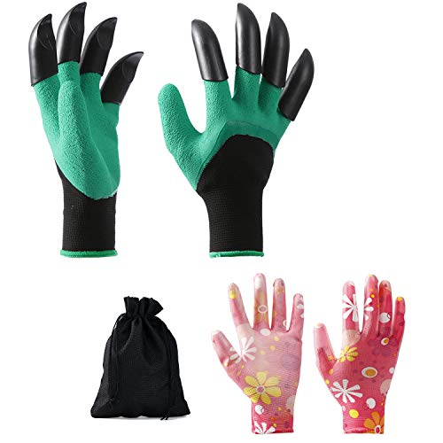 Garden Gloves with fingertips Claws Best Gift Gardener for Quick and Easy Digging and Planting Gardening Gloves Suitable for Digging and Seeding Breathability (Green and Pink)