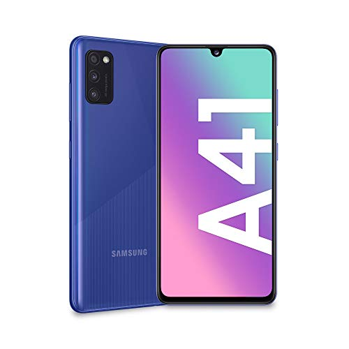 "Samsung Galaxy A41, Smartphone, Display 6.1"" Super AMOLED, 3 Fotocamere Posteriori, 64GB Espandibili, RAM 4 GB, Batteria 3500 mAh, 4G, Dual Sim, Android 10, 151 g, [Versione Italiana], Blue"
