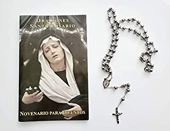 Prayer Set  Stainless Steel Rosary and Prayer Book/Libro de Rezo Oraciones Santo Rosario Novenario Para Difuntos