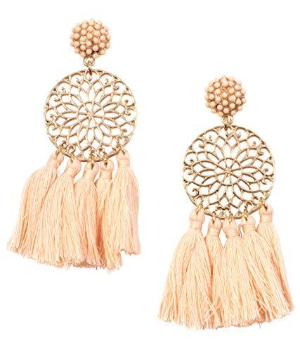 Happiness Boutique Damen Statement Ohrringe mit Quasten in Nudefarbe | Quastenohrringe Blumen Design in Goldfarbe