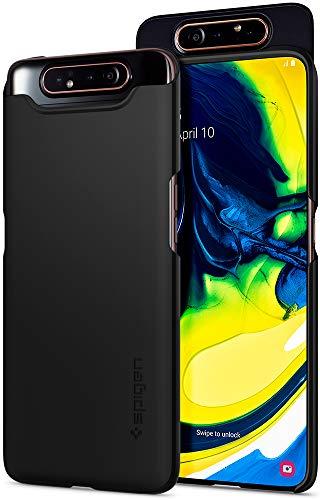Spigen 621CS26417 Thin Fit Kompatibel mit Samsung Galaxy A80 Hülle, Slim PC Schale Hardcase Leicht Dünn Schutzhülle Handyhülle Hülle Phantom Black