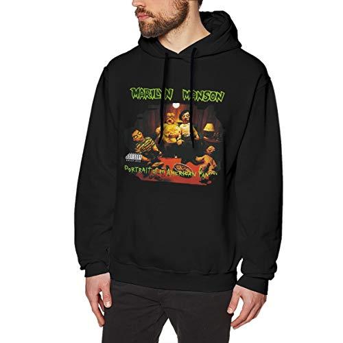 Grillianc Men's Black Casual Style Matta Marilyn Manson Portrait of an American Family Fleeces with Men's Sweatshirts L