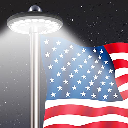 MEIHONG Solar Powered Flag Pole Light, Automatic Solar...