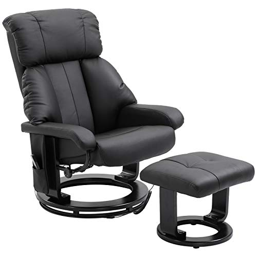 HOMCOM PU Leather Massage Swivel Recliner Chair and Ottoman with Bentwood Base - Black