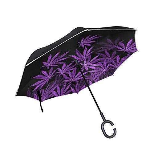 rodde Hojas de Cannabis púrpura en sombrillas Negras para Lluvia Rayo inverso al Aire Libre Doble Capa Invertida con Mango en Forma de C A Prueba de Viento