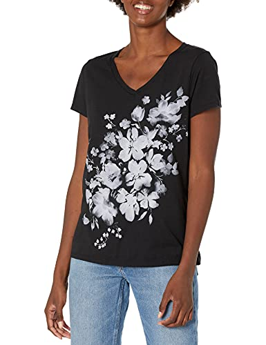 Hanes Women's Short Sleeve Graphic V-neck Tee (multiple graphics available), LARGE, BLACK