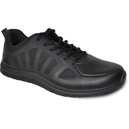 VANGELO Professional Slip Resistant Men's Lace Up Work Sneaker for Food Service Health Care Nurse Nick-1 Black Men's Size 12M