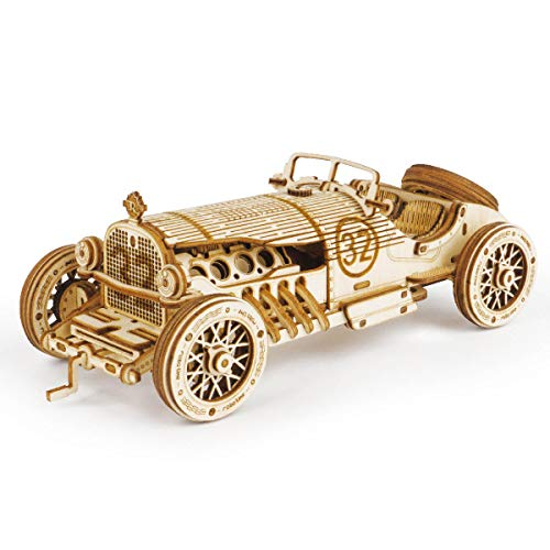 ROKR Car Wooden Model kit For Adult - 3D Puzzle Model Building Kits - Christmas Birthday Gifts For Teens and Adults (Grand Prix Car)