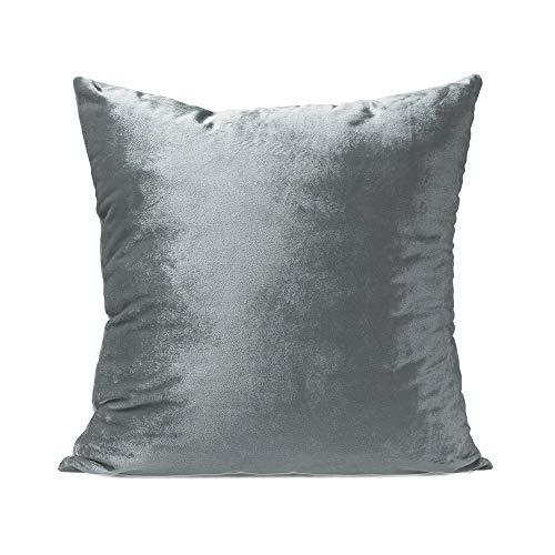 Moyun Weicher, reflektierender Samt-Kissenbezug, quadratisch, 45,7 cm, Silbergrau