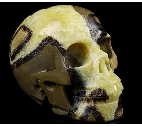 Skullis 5.0&Quot; Dragon Septarian Stone Crystal Skull, Hand Carved Gemstone Fine Art Sculpture, Reiki Healing Stone Statue.1197