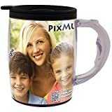 PixMug with Handle – 15 oz Photo Mug with Spill Proof Top – The Mug That's a Picture Frame - DIY - Insert Your Own photos or Create and Print Inserts Online – 1 Pack