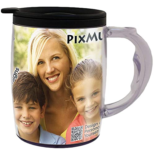 PixMug with Handle – 15 oz Photo Mug with Spill Proof Top – The Mug That's a Picture Frame -...