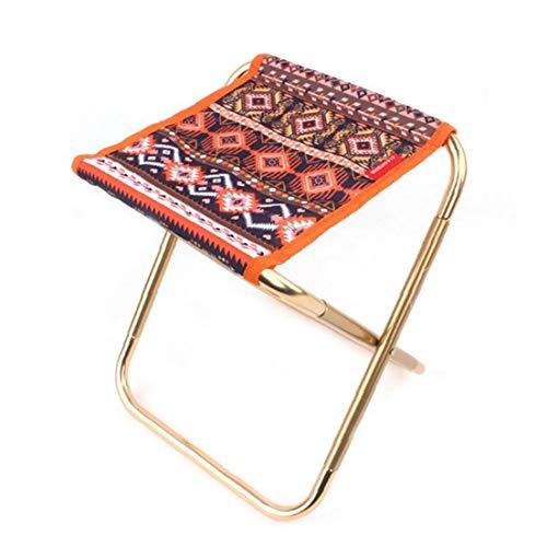 Taburete plegable, portátil plegable estilo étnico de aleación de aluminio al aire libre silla de camping heces