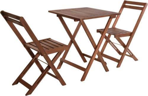 VDC Mesa Madera 60x60 + 2 sillas Plegables Acacia