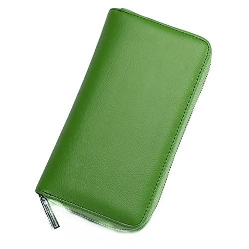 Funda de piel auténtica para tarjetas de visita de gran capacidad, con cierre RFID, con cremallera, múltiples ranuras para tarjetas y compartimento espacioso, para pasaporte, para mujer