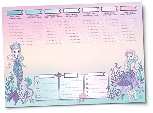MEERJUNGFRAU Schreibtischunterlage - DIN A3 Papier - Wochenplaner - für Kinder, Mädchen, Teenager