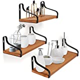 CRZDEAL Multifunctional Bathroom Shelves Wall Mounted Floating Shelf-Set of 3 Rustic Wood Shelves Maximum Load 40 lbs for Bathroom/ Bedrooms/ Living Room/ Dining Room/ Kitchen/ Office