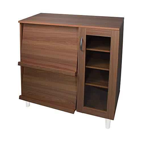Iris Ohyama, Aparador de almacenamiento múltiple con tapa corrediza y puerta de vidrio en madera MDF - Kitchen Cabinet KBN-9390 - Roble marrón, L90 x P42.5 x A93.7 cm