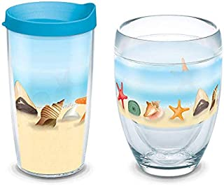 Tervis Shells on the Beach Tumbler with Wrap 9oz Stemless Wine Glass, Clear & Tervis Shells on the Beach Tumbler with Wrap and Turquoise Lid 16oz, Clear