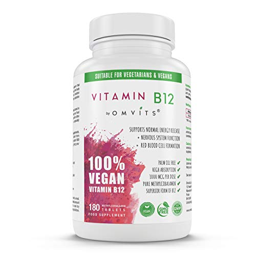Vegan Vitamin B12 Tablets - High Strength Supplement - 1000mcg Methylcobalamin - 180 Tablets (6 Month Supply) - Palm Oil Free & Sustainable - for Reduction of Tiredness & Fatigue