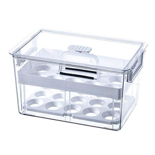 YARNOW Soporte de Huevo para Nevera Contenedor de Plástico para Almacenamiento de Huevos para Nevera Transparente Organizador de Nevera Contenedores con Tapas